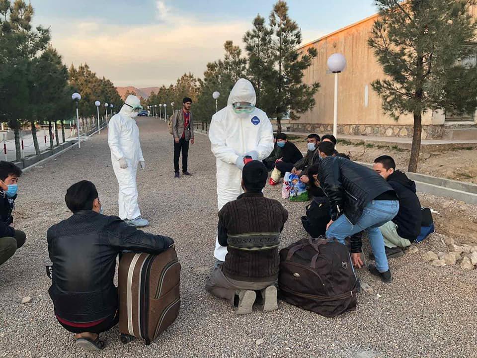 یک گروه از مهاجران افغان که از ایران به هرات برگشتهاند حرارت بدن شان مورد آزمایش قرار میگیرد. عکس از پدرام قاضی زاده