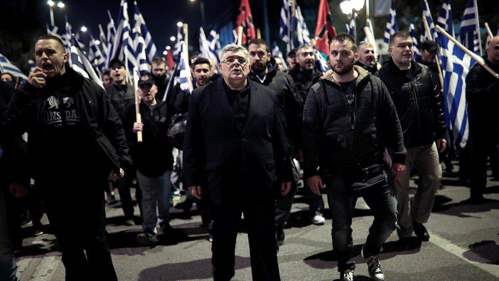 Des militants néo-nazis d'Aube dorée, le 5 mars 2018 à Athènes. Crédit : Reuters
