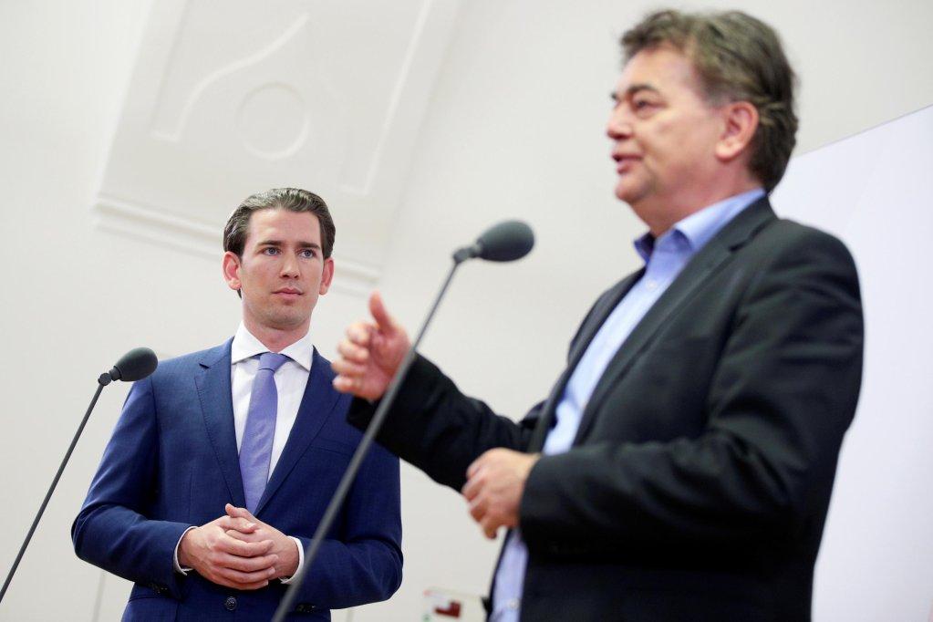 REUTERS/Lisi Niesner |Le chancelier autrichien sortant Sebastian Kurz (ÖVP) et le dirigeant écologiste Werner Kogler, le 12 novembre dernier en marge de leurs discussions pour une coalition gouvernementale autrichienne.