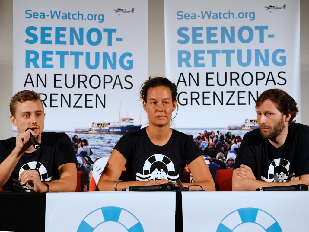 Sea-Watch activists Chris Grodotzki, Marie Naas and Ruben Neugebauer holding a press conference in Berlin | PHOTO: EPA/Hayoung Jeon