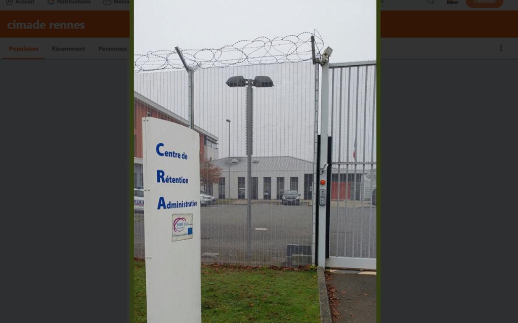 Le centre de rétention administrative de Rennes. Crédit : Capture d'écran du compte Twitter de la Cimade