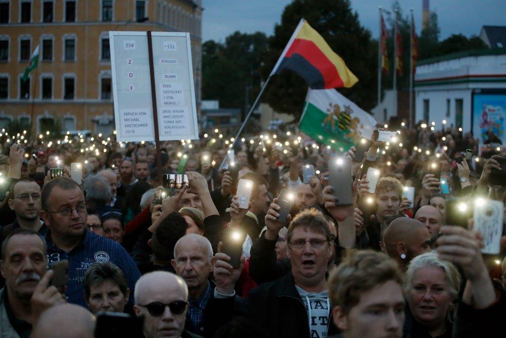 Odd Andersen, AFP  Rassemblement anti-migrants à Chemnitz, dans l'est de l'Allemagne, jeudi 30 août 2018.