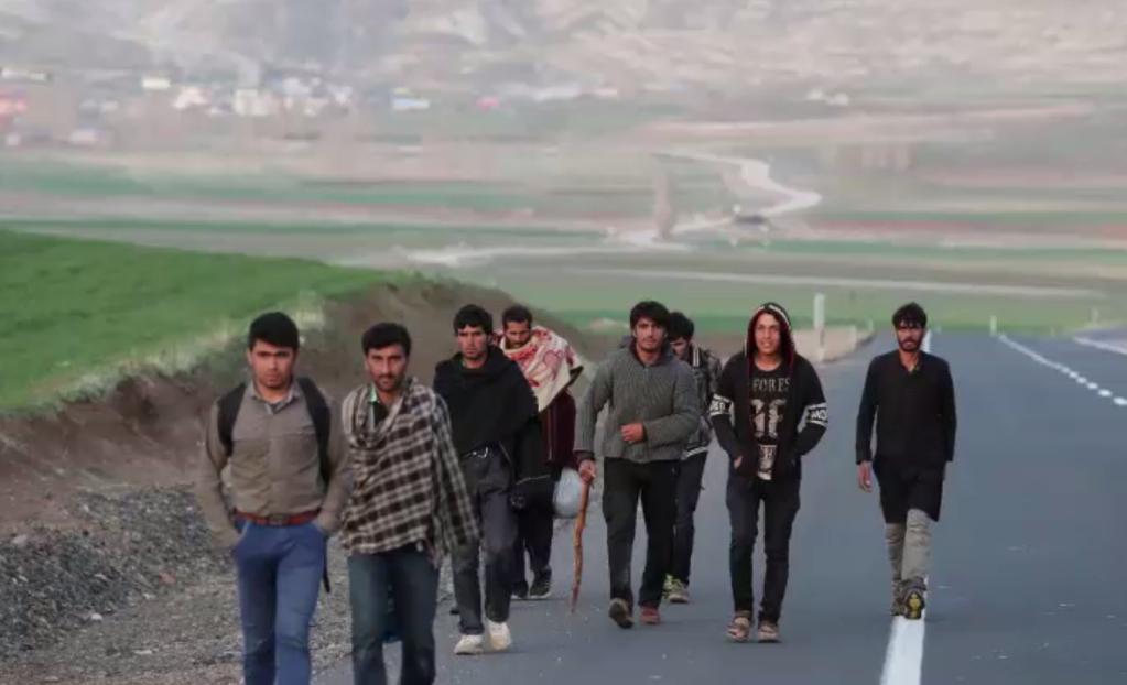 تعدادی از مهاجران افغان در یکی از جادههای ترکیه. عکس خبرگزاری رویترز