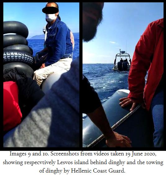 لقطات شاشة مأخوذة من مقطع فيديو من قبل مركز ليسفوس  القانوني والذي يُظهر سفينة خفر السواحل اليونانية تسحب قارباً مليئاً بالمهاجرين بعيداًعن ليسبوس باتجاه البحر المفتوح | المصدر: مركز ليسفوس القانوني