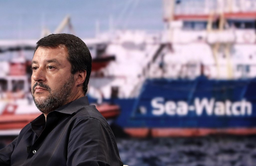 "Italian Interior Minister Matteo Salvini appears on the RAI1 talk show ""Porta a Porta"" to speak about the standoff with the Sea Watch 3 on June 26, 2019 