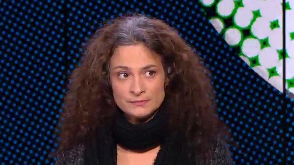 صورة ملتقطة عن شاشة فرانس24 |الممثلة السورية مي سكاف. كانون الأول/ديسمبر 2015.