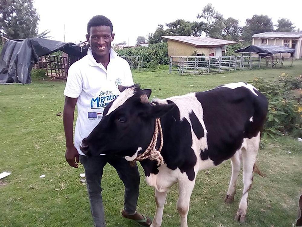 One of the returnees, Abush Girma, used his reintegration grant to start livestock rearing business. Credit: IOM