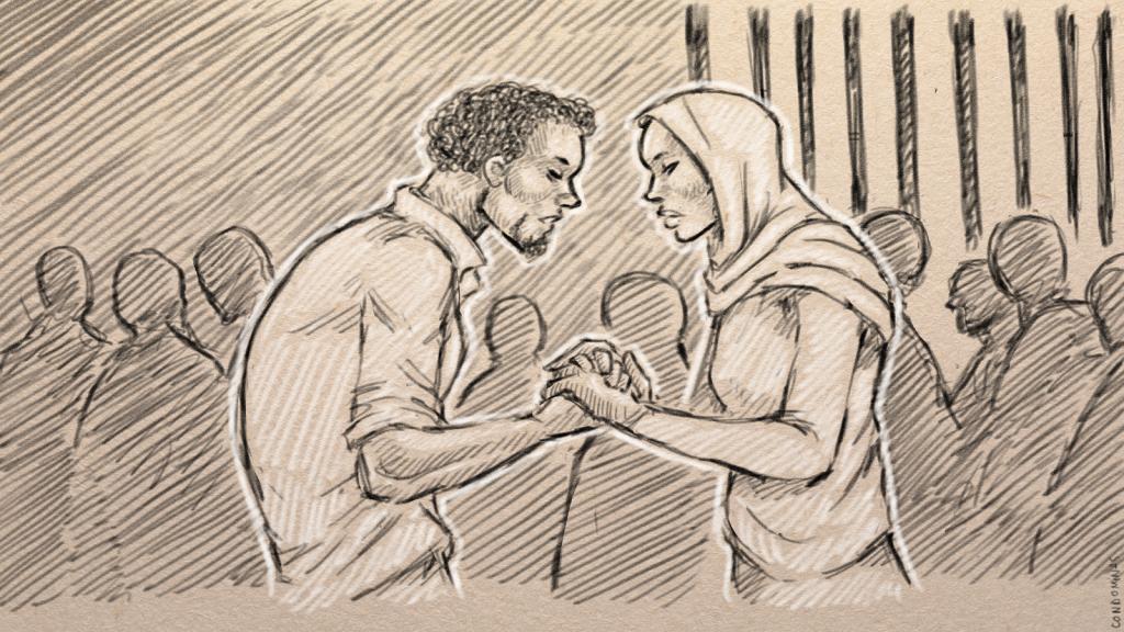 Abdulkarim et Fardous, deux Somaliens, se sont rencontrés dans l'enfer d'une prison libyenne. Illustration : Baptiste Condominas