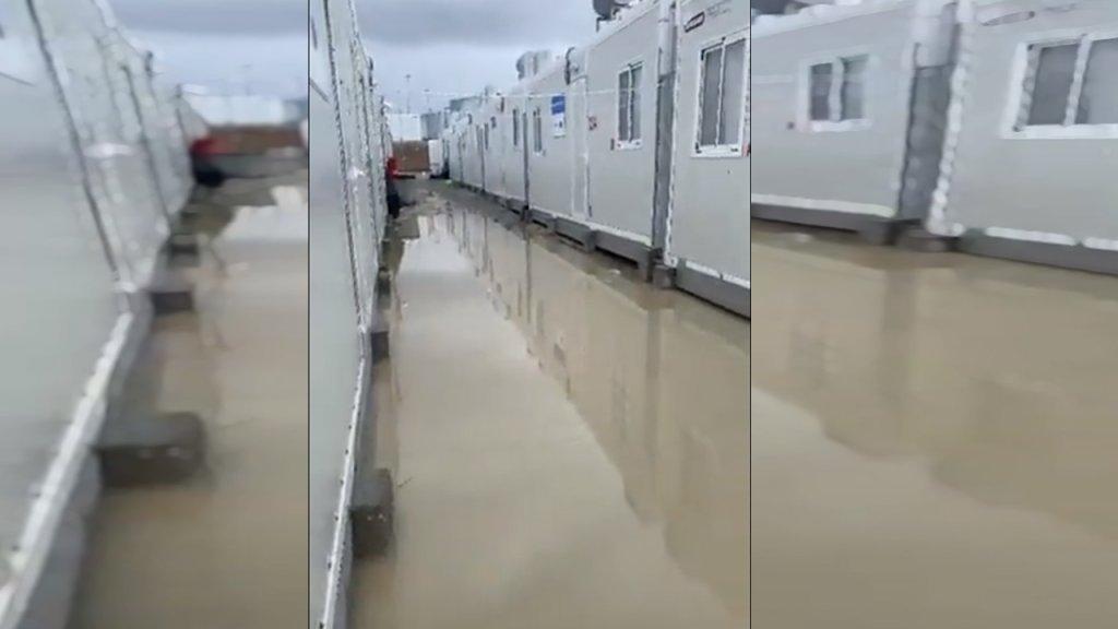 صورة ملتقطة من فيديو يظهر الأمطار في مخيم ساموس الجديد