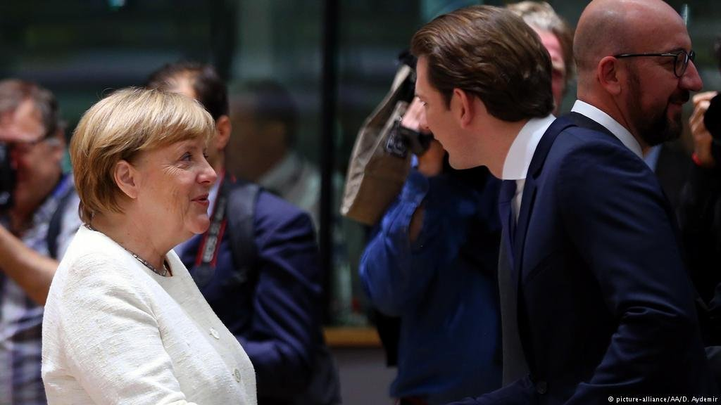 German chancellor Angela Merkel meets Austrian Chancellor Sebastian Kurz at a summit in Brussels