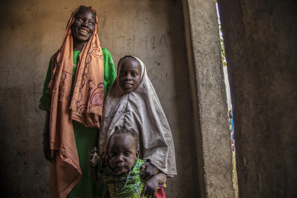 "Residents of a so-called ""widows' house"" in Banki, Borno State, northeast Nigeria, 15 November 2016 