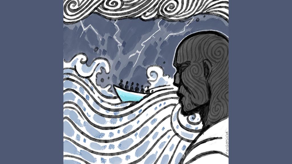 Alain a passé plusieurs jours en mer Méditerranée avant d'être secouru par un navire commercial. Crédit : Baptiste Condominas