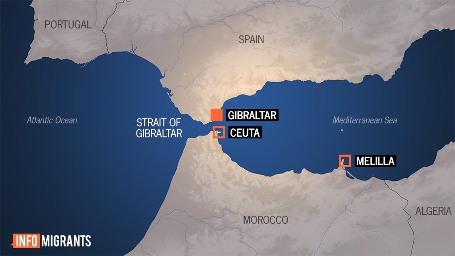The Spanish enclaves of Ceuta and Melilla, separated from Spain by the Strait of Gibraltar and the Mediterranean Sea | Credit: InfoMigrants