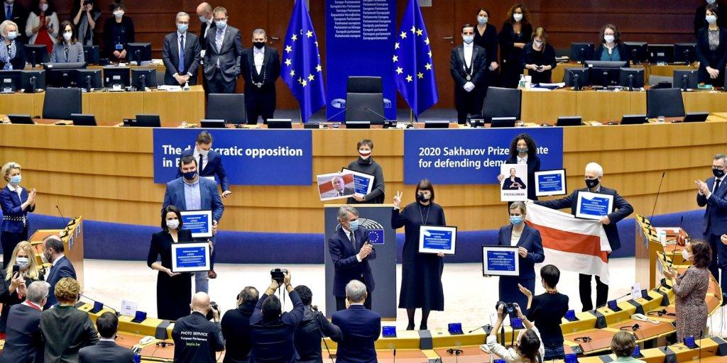 مراسم اهدای جایزه ساخاروف ۲۰۲۰ در پارلمان اروپا. عکس از پارلمان اروپا