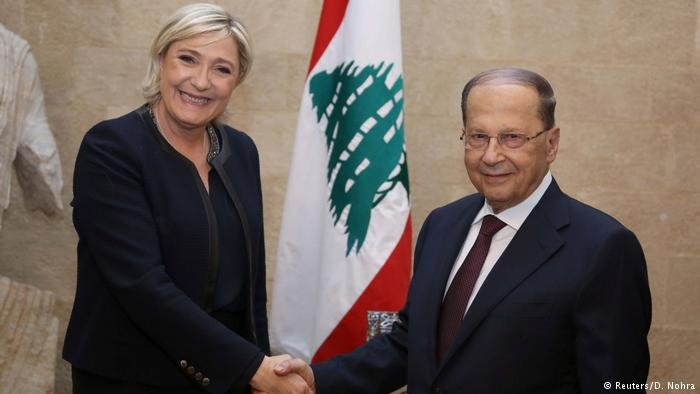 Marine Le Pen with Lebanon's President Michel Aoun