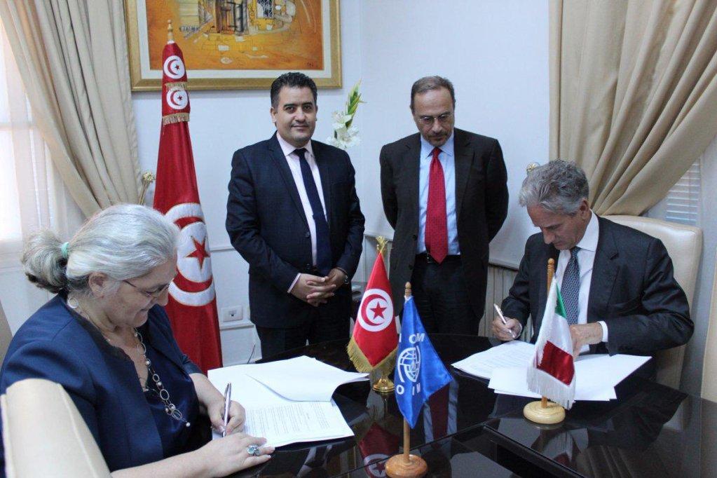 Lorena Lando (IOM), Adel Jarboui, Tunisian Secretary of State for Migration and Tunisians Abroad, Flavio Lovisolo (AICS) and Raimondo De Cardona, Italian ambassador to Tunisia | Credit: ANSA