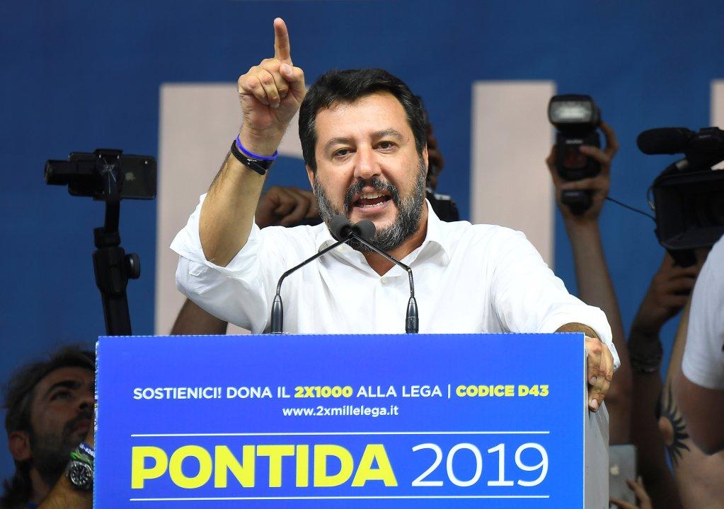Matteo Salvini lors de son meeting à Pontida, le 15 septembre 2019. Crédit : Reuters