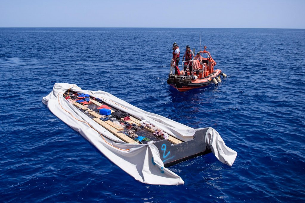 An empty rubber boat reportedly used by migrants to cross the Mediterranean Sea before being intercepted by the Libyan Coast Guard | Photo: EPA/CHRISTOPHE PETIT TESSON