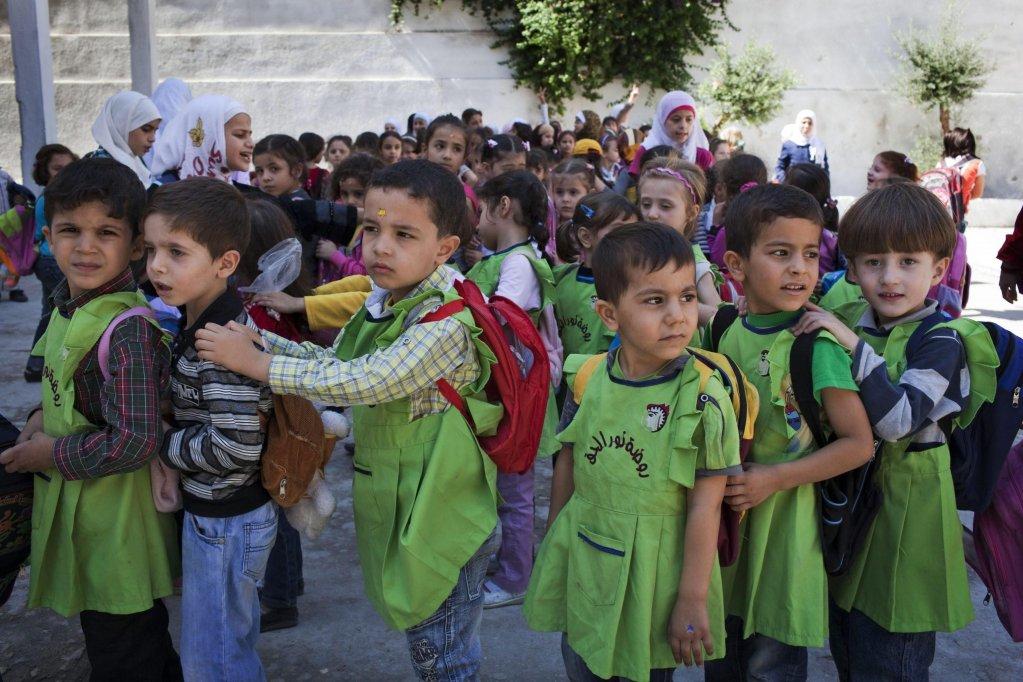 ansa / تلاميذ في مدينة حلب السورية. المصدر: يونيسف.