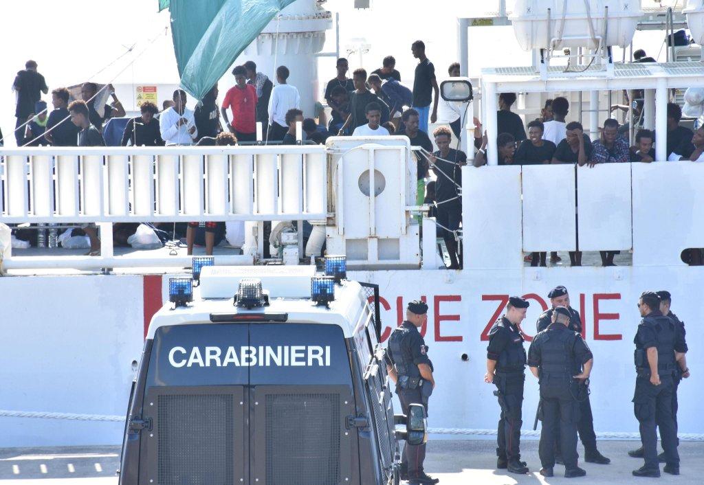 The Diciotti ship in the port of Catania | Credit: ANSA / ORIETTA SCARDINO