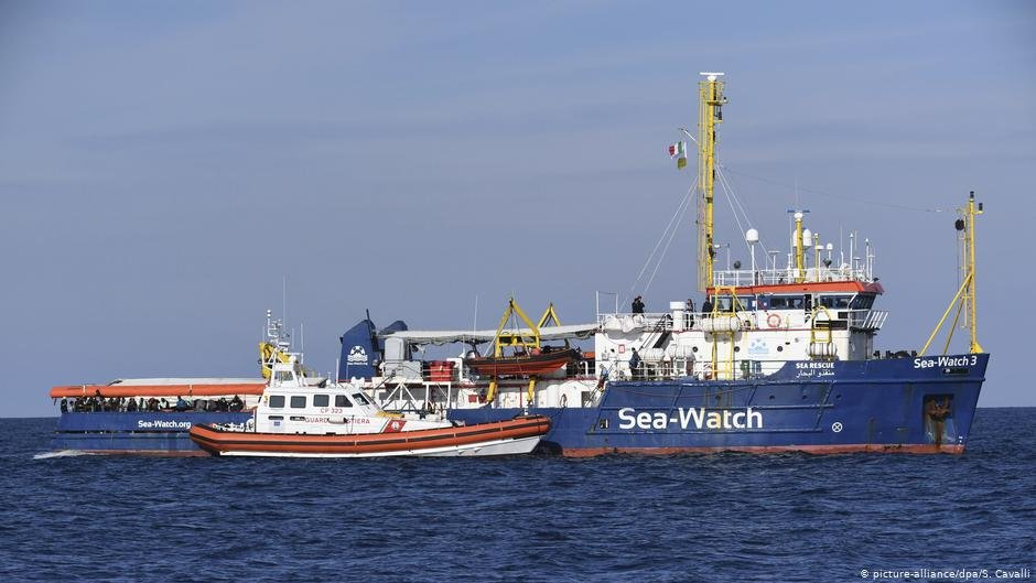Le Sea-Watch 3  en Méditerranée. Crédit : Picture-alliance/dpa/S.Cavalli
