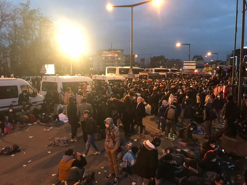 Démantèlement du camp de Saint-Denis, le 17 novembre 2020. Crédit : @utopia_56