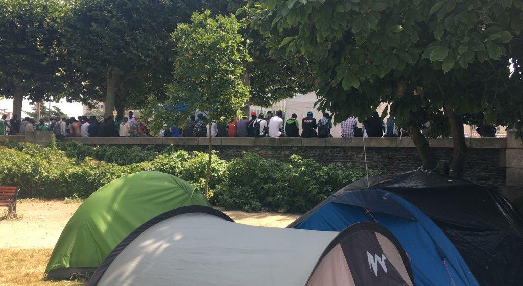 Image d'archive du camp de migrants au square Daviais, à Nantes, le 13 juillet 2018. Crédit : InfoMigrants