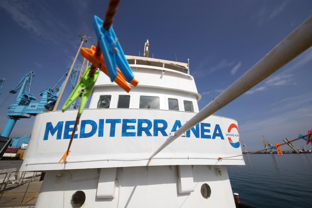 The Mare Jonio ship from the Mediterranea project in the Palermo port. Credit: ANSA/IGOR PETYX