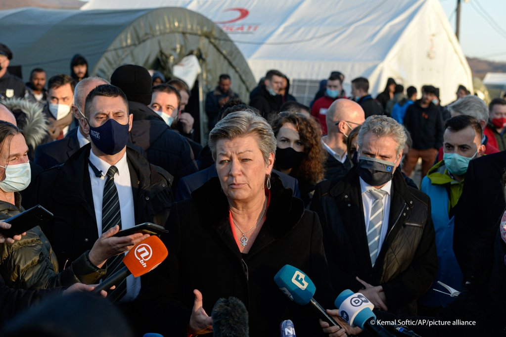 Ylva Johansson, the European Union's Commissioner for Home Affairs, speaks to media in front of the Lipa migrant camp near Bihac, Bosnia on February 18, 2021   Photo: Kemal Softic/AP Photo