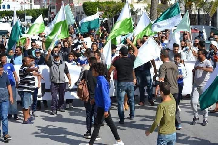 مظاهرات في مدينة تونسية