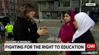 Muzoon Al Mellehan and Malala Yousafzai and Christiane Amanpour