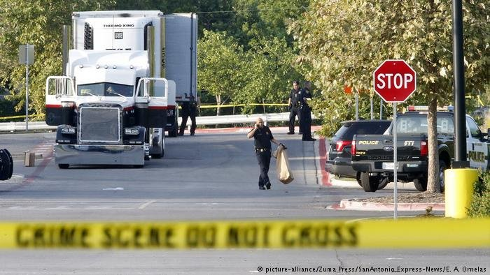 Law enforcement at scenere where truck was discovered
