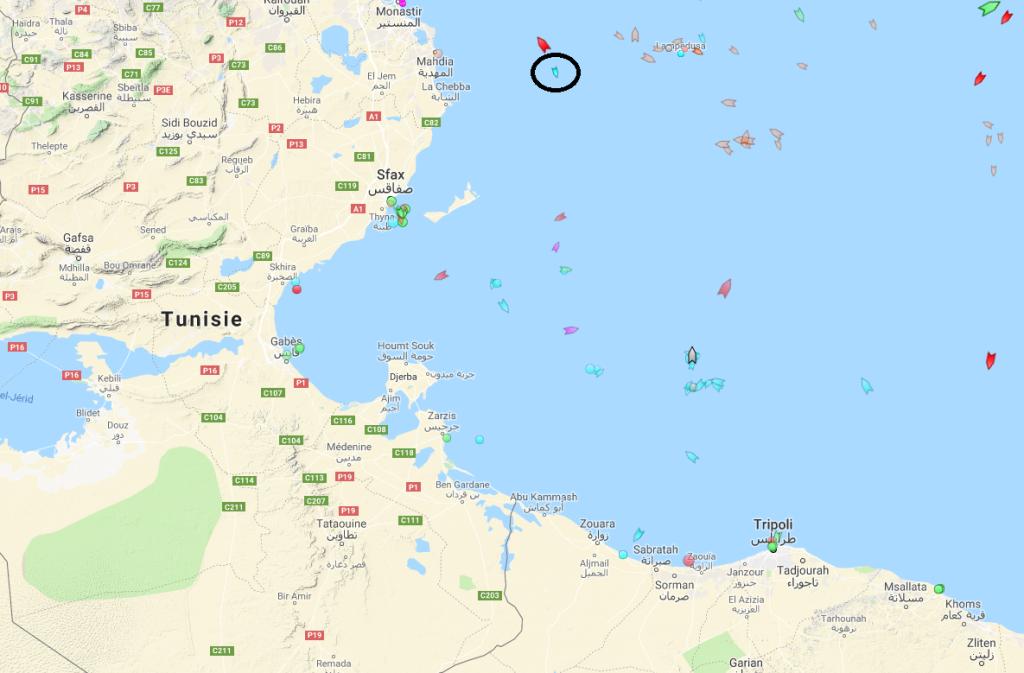 Le Aylan Kurdi au large de la Tunisie, le 25 mars 2019 à 16h.