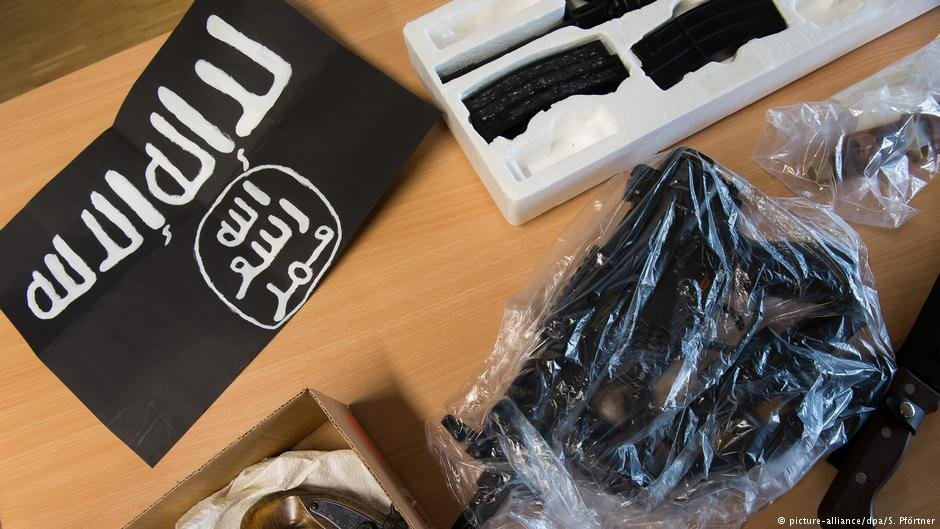 Items confiscated by police in a raid against Salafist extremists who plotted an attack in Germany in 2017