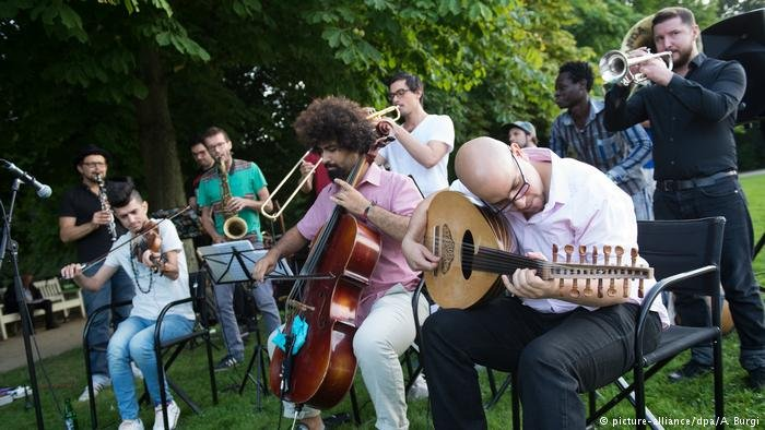 Musicians on lawn