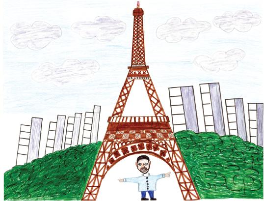 Hafiz a été étonné à son arrivée quand il a découvert que la Tour Eiffel n'était pas en or. Crédit : Hafiz Adem / Dessins Sans Papiers