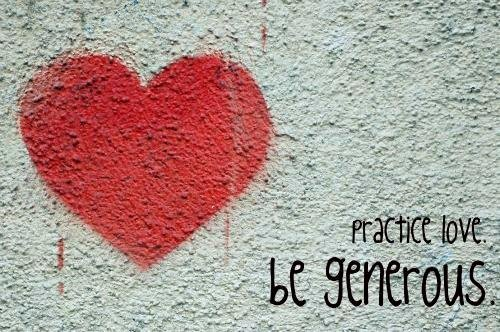 A picture of grafitti encouraging people to practice love and be generous posted to Streets Kitchen Facebook page  Source Streets Kitchen Facebook page
