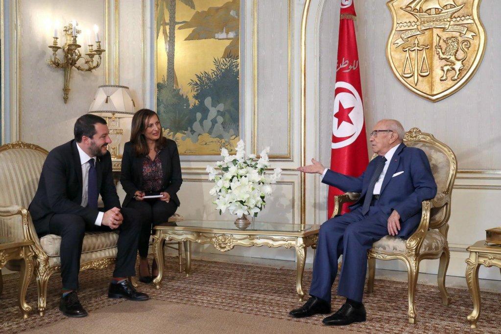 Italian Interior Minister Matteo Salvini  met with Tunesian President Beji Caid Essebsi    Credit: ANSA