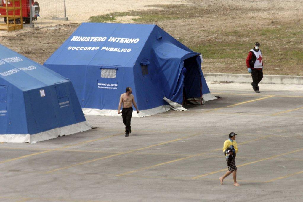 Picture shows migrants at the tent camp in Santa Maria Capua Vetere (Caserta). PHOTO/ARCHIVE/ANSA/FRATTARI