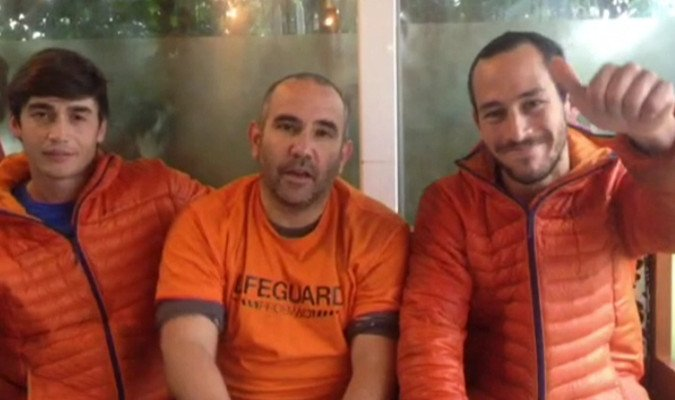 Enrique Rodriguez, Manuel Blanco and Julio Latorre face court in Lesbos on May 7