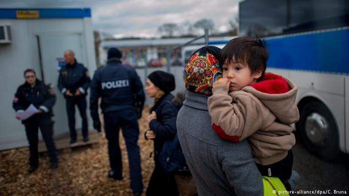 Refugees on the German-Austrian border