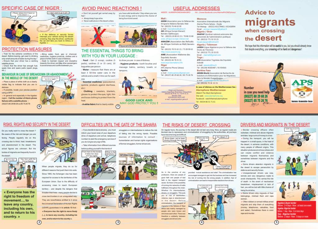 Advice to migrants when crossing the desert | Source: Alarm Phone Sahara