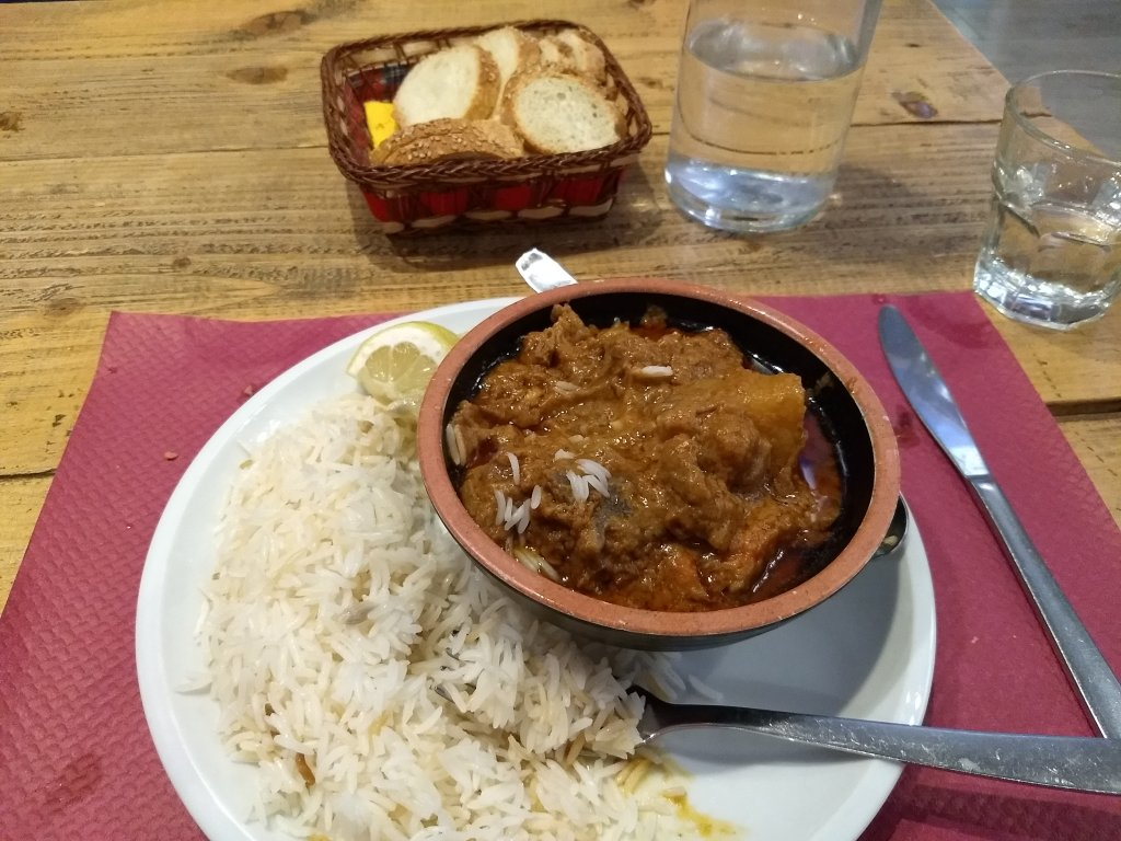 Senegalese Maf Peanut stew with lamb and vegetables at Molti Volti Palermo  Photo Emma Wallis