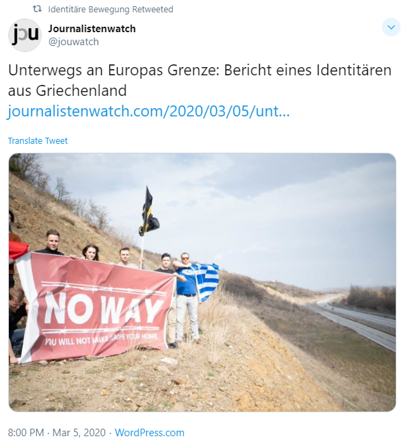 Members of Generation Identity including its founder in Austria Martin Sellner in Greece March 5 2020