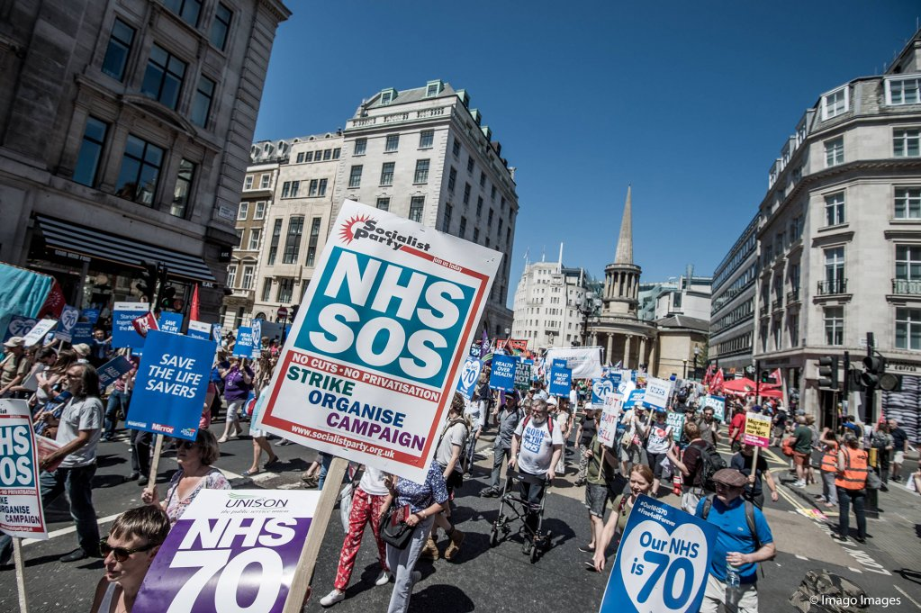 Tens of thousands of people marched in London to celebrate the NHS 70th birthday in 2018 and to protest against the cuts which it is suffering  Photo Imago  Brais G Roucox