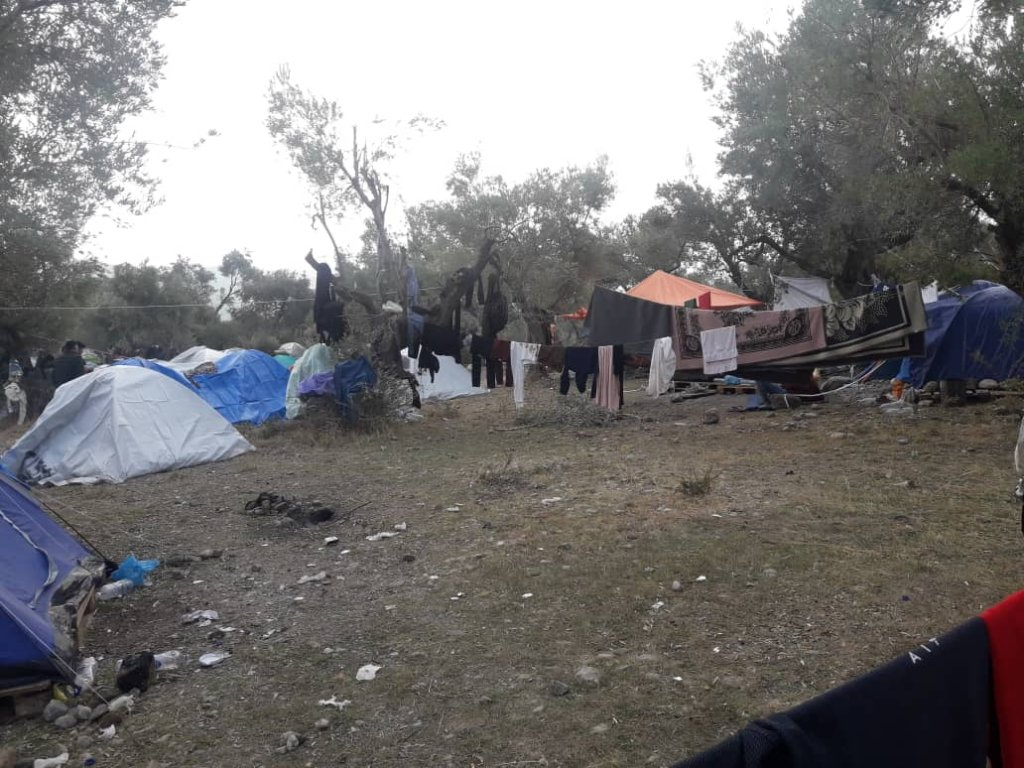 The view from outside Zeinab's tent in the Olive Grove of the Moria refugee camp on Lesbos | Photo:  Private