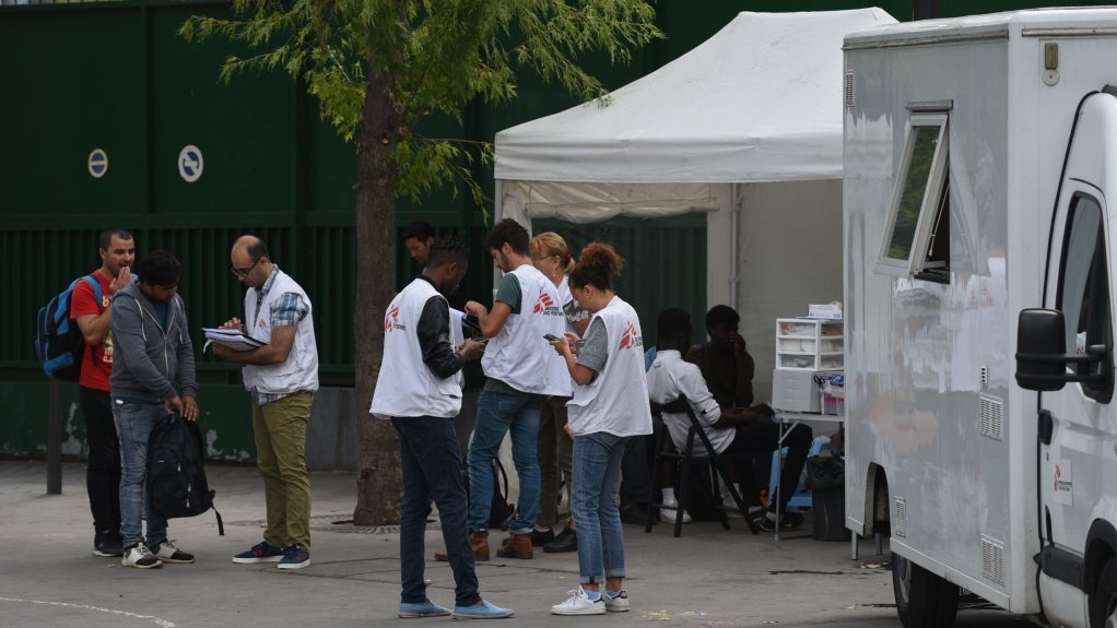 MSF offers consultations in a mobile clinic every Tuesday near the Porte de la Chapelle Credit Mehdi Chebil