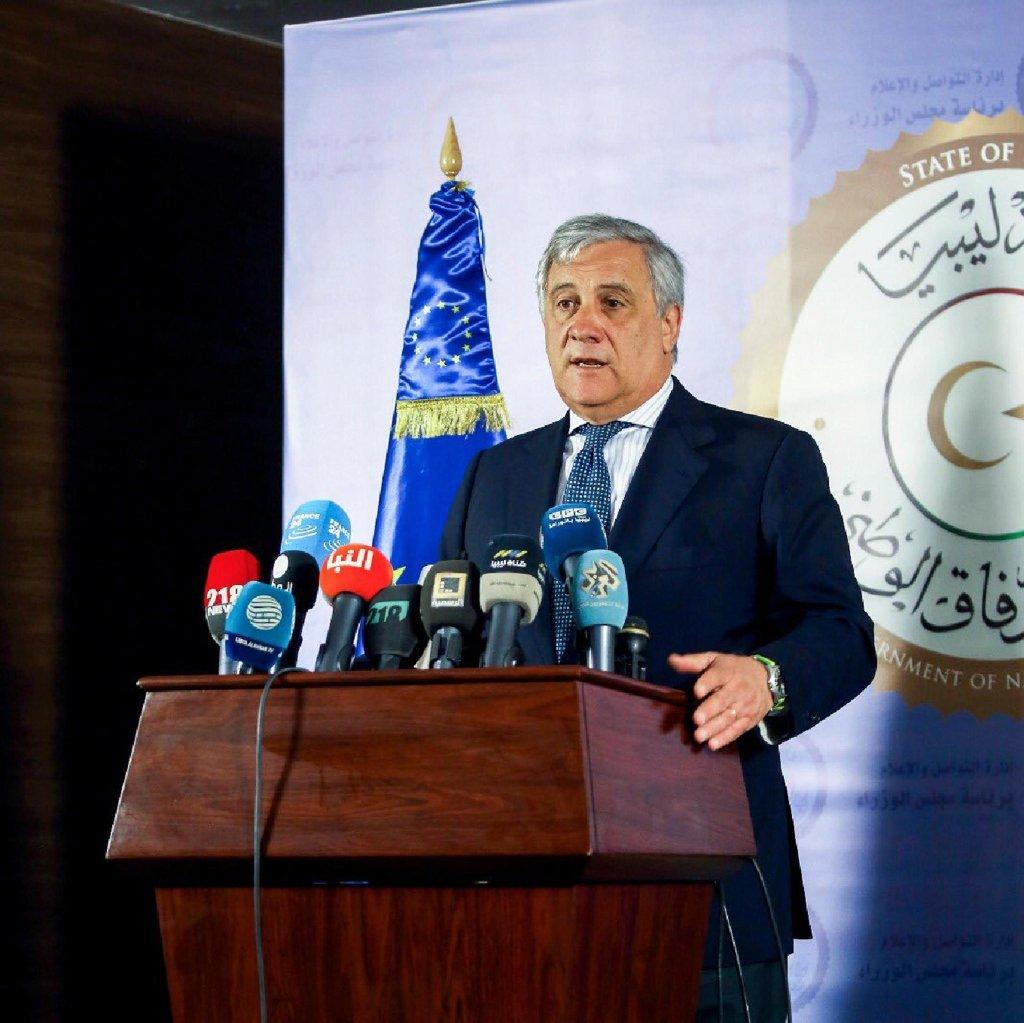 European parliament president Antonio Tajani during his visit in Tripoli. From his Twitter account