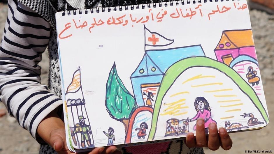 """""""C'est ainsi que les enfants s'imaginaient l'Europe, mais ce rêve n'existe plus."""" Une jeune Syrienne dans un camp de réfugiés en Grèce"""