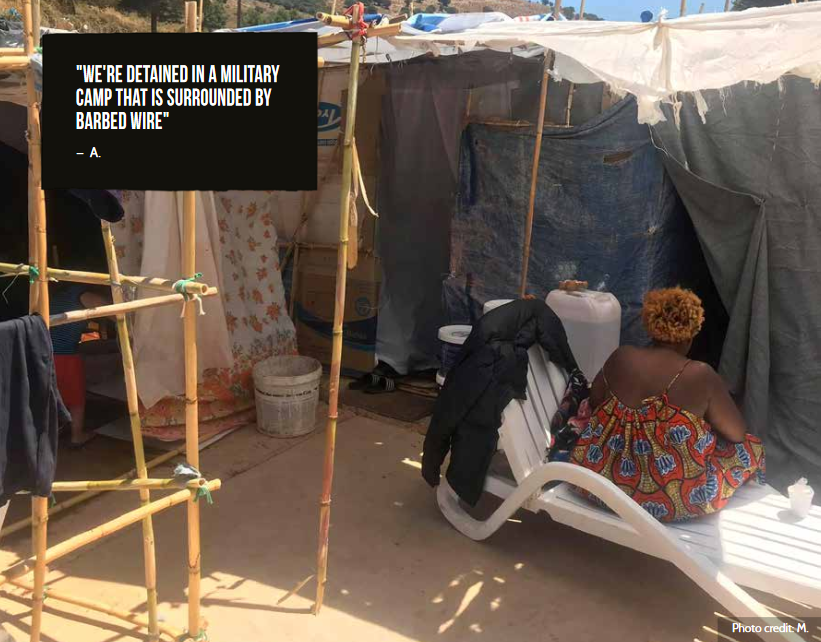 When those living outside the camps were moved inside they had to make dwellings with anything they could find | Source: M camp resident for Refugee Rights Europe report